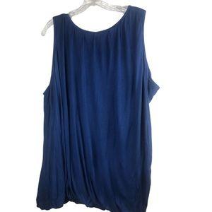 H by Halston Tank Top Size 2X Bubble Hem Blue